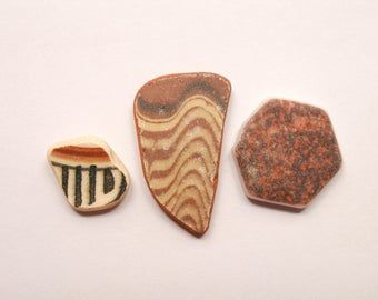3 pieces,Patterned /Brown/Black  Sea Pottery Lot, Pendant/Ring Sized, Mosaic Pieces
