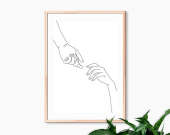 Gestural Hands Reaching Art Print Pen and Ink Line Drawing Modern Illustration Simple Poster Print