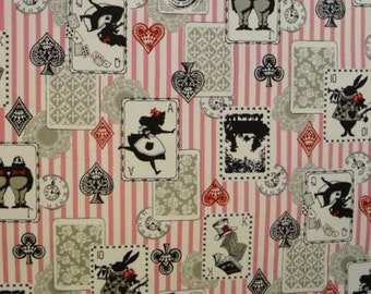 Fat Quarter Alice In Wonderland Pink Stripe Cotton Linen Quilting Fabric
