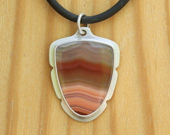 Laguna agate and sterling silver pendant