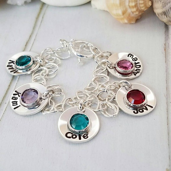 Personalized Grandmother Bracelet, Sterling Silver, 5 name bracelet, Custom Nana Bracelet, Grandma name Bracelet, ID Bracelet, Birthstone