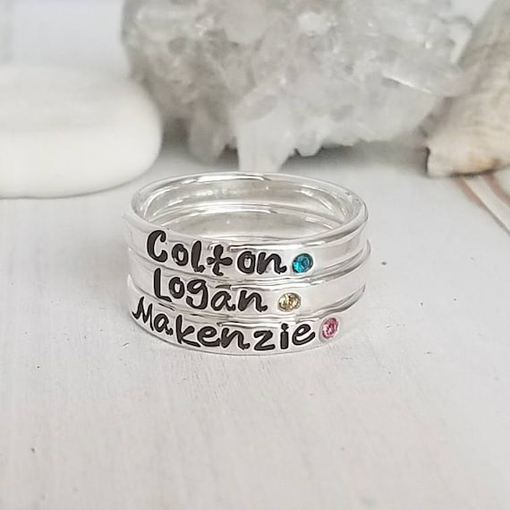 3 Sterling Silver Name Rings, Birthstone ring, Personalized Name Ring, Stackable Rings, Mommy Name Ring, Birthstone name ring, Mothers Ring