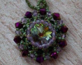 Beaded Rivoli Pendant handmade Jewelry