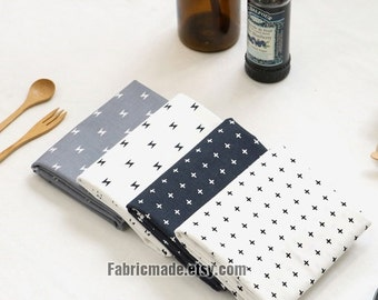 Neat White Grey Gray Navy Blue Cross Lightning Cotton Fabric Plus Sign Geometric- 1/2 Yard