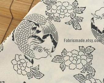 Retro Fashion Cotton Fabric Fish & Flower Chinese Ink and Wash Painting Style For Curtain Clothing Designer -1/2 yard