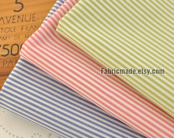 Blue Red Green Stripes Cotton,  Stripes 100% Cotton Soft Fabric- 1/2 Yard