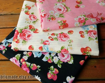 Shabby Chic Flower Cotton Fabric, Pink Rose Strawberry Bows On Pink Beige Black Cotton - 1/2 Yard
