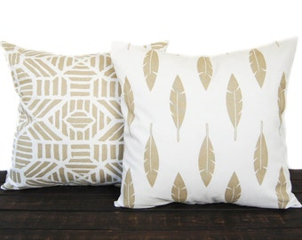 Pair Decorative Throw pillow cushion covers Metallic Gold and White, Athena Gold Feather and Ribble