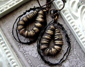 Petite Yet Fierce, small hoop earrings, scorched earth, black gold earrings, asymmetrical earrings, unique handmade, rocker, anvilartifacts