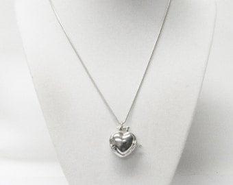 Silver Plated Keep Sake Heart Locket Pendant Necklace