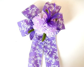 Feminine gift bow, Birthday gift bow, Floral gift bow, Gift bow for women, Gift wrap bow, Purple & white gift bow, Gift basket bow,  (HB109)