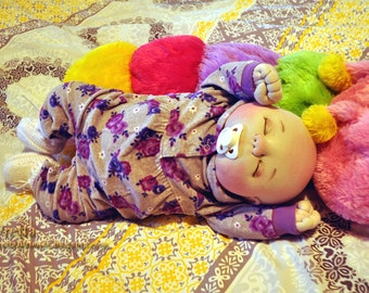 "Made to Order! Fretta's OOAK Soft Sculptured Newborn Baby. Pacifier Realistic Looking Newborn Doll. Textile Baby Doll, 51 cm / 20"" tall."