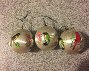 Vintage Satin Birds Ornaments