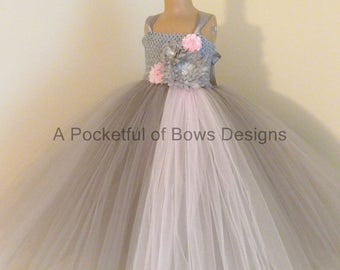 Flower Girl Dress Silver and Pink Gray and Pink Ball Gown Girls Formal Tulle Dress