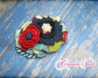 Red, Navy Blue, Yellow, Turquoise Hair Piece, M2M Mustard Pie, Fabric Flower Headband, Hair Clip, Flower Headband, Hair Accessory, Brooch