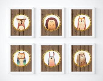 Forest Animals Decor, Forest Animals Art Prints, Nursery Decor, Woodland Tribal Nursery Art Prints, Deer Fox Owl Prints, Wooden Art, A-6003
