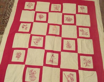 30s Red Work Quilt