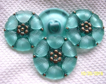 Czech  Glass Buttons 4 pcs    GORGEOUS  reverse painted   27mm     IVA RP 041