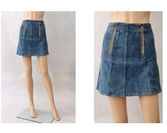 1970 denim mini skirt small