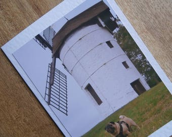 Pug card. Windmill photograph.Individually handmade greetings card for any occasion