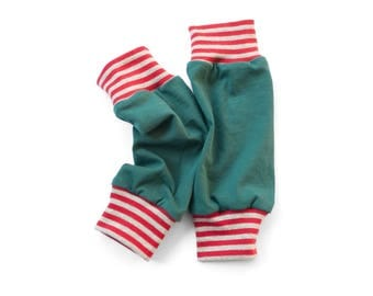Baby legwarmers, Children organic clothing, Petrolblue jersey with striped cuffs