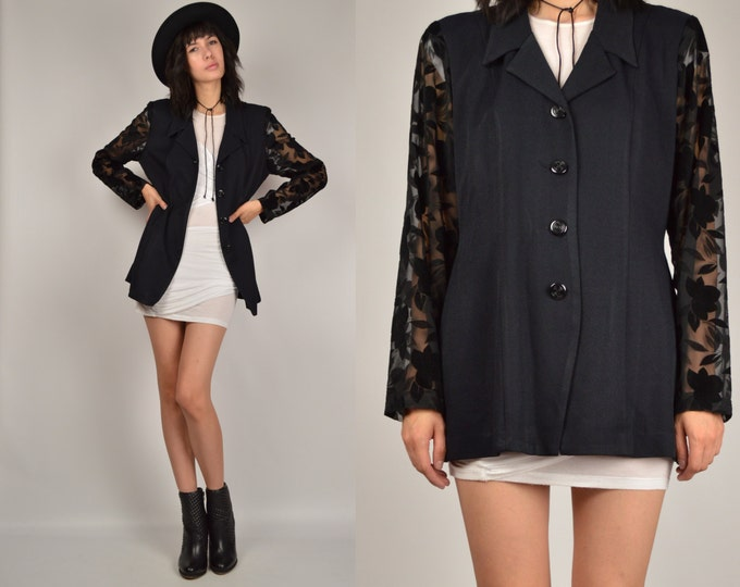Vintage Long Black Blazer Lightweight
