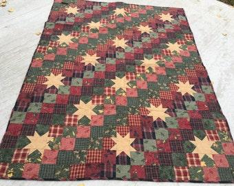 Teresa's Flannel Quilt, Flannel, Quilt, Winter, Handmade, MaterialThings2, Green, Red, Gold, Black, Plaid, Deer