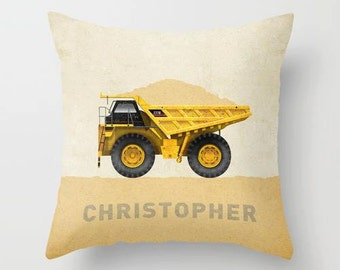 Dump Truck Construction Throw Pillow Cover - Personalized with Name for Nursery or Big Kid Room Decor Excavator Backhoe Bulldozer
