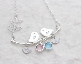 Lovebirds Necklace, Bird necklace, 925 Sterling silver love birds, Mothers Necklace, Anniversary, Birds Jewelry
