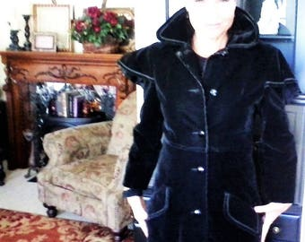 Black Velveteen Full Length Coat