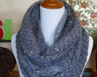 ON SALE Gray Sequined Cowl