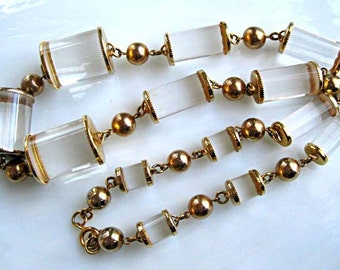 Vintage Lucite Jelly Belly Necklace, Thread Spools, Elongated Clear Barrel Cylinders, Golden Ball Bead Spacers