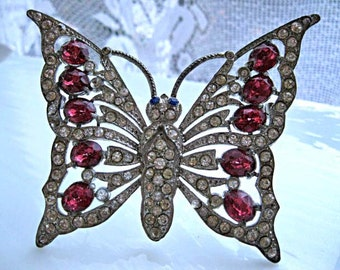 Staret Butterfly Brooch, Rosy Pink Oval Rhinestones, Extra Large Vintage Schrager Staret Rhinestone Brooch, Unsigned