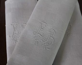 Eight French Antique dinner napkins French linens, French linens French tabletop French dinner napkins, French antique linen Antique napkins