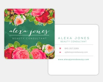 Premade Vintage Rose Business Card Design | Customized for YOU - Two Sided Personalized Card | Type Shape and Fonts Editable