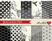 BLACK FRIDAY SALE Black and White Digital Graphics Oriental Scrapbook Papers Chinese New Year Paper Koi Fish Patterns Black and white japan