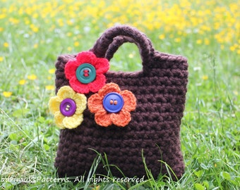 CROCHET PATTERN - Little Girls Little flowers Purse, bag pattern - Listing61