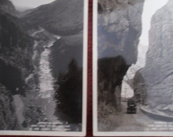 2- 1926 Photo Postcards- Shoshone Canyon- Road to Yellowstone