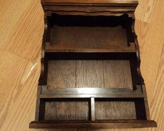 Decorative shelf in dark wood/hang or stand alone