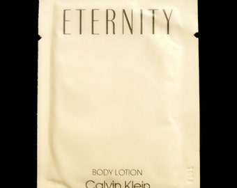 Vintage 1980s Eternity by Calvin Klein 0.25 oz Perfumed Body Lotion Sample Packet