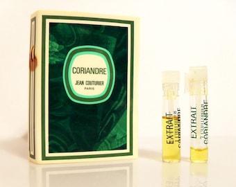 Vintage 1970s Coriandre by Jean Couturier Parfum Extrait Sample Vial on Card PERFUME