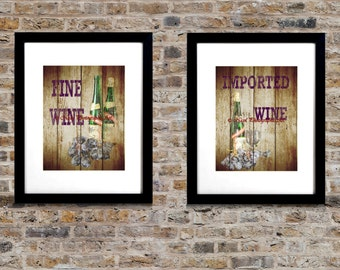 Set Of 2 Art Prints Rustic Country Wine Grape Kitchen Decor Matted Picture  A266