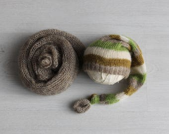 Newborn wrap and hat set Newborn photography prop Knit mohair wrap Brown mohair wrap Stocking hat Newborn sleepy hat and wrap