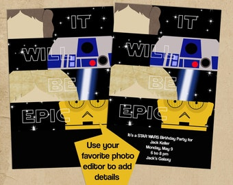 EPIC Star Wars Party invitation