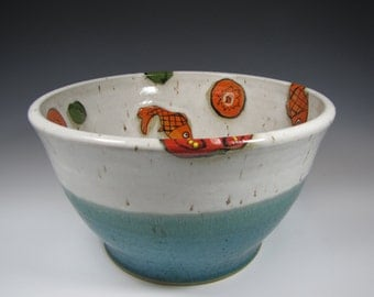 Large Pottery Bowl, Large Pottery Fruit Bowl, Pottery Salad Bowl, fish Turquoise Teal Wedding Gift