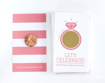 10 Coral and Gold Bridal Shower Scratch Off Cards - Bridal Shower Game - Bachelorette Party Game