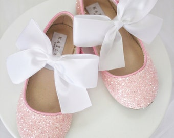Infant girl shoes, Toddler girl shoes, Kids Girls Shoes - PINK Rock Glitter mary-jane with SATIN ribbon bow for flower girls