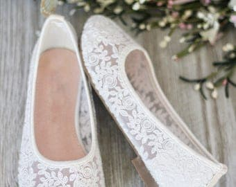 GIRLS SHOES -Flower Girl Shoes - White Lace Ballet Flats