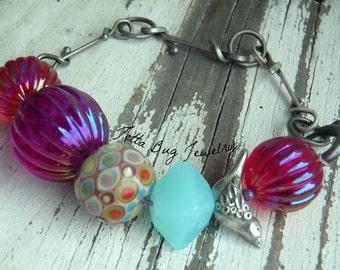 Fresh Day- pewter bird bead. lampwork dot bead. vintage purple hot pink purple light turqoise beads. boho bird bracelet. Jettabugjewelry