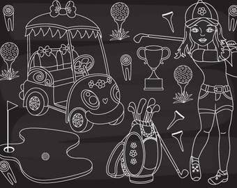 50% OFF SALE Chalkboard Golf Clipart - Digital Vector Golf, Golfer, Golf Club, Chalkboard Golf Clip Art